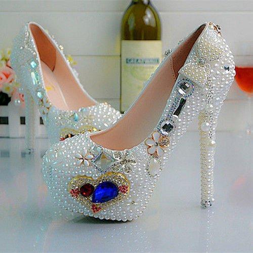 JINGXINSTORE Perla cuore Butterfly Wedding club di ballo scarpa Tacchi Alti Party 14CM/5.5INCH
