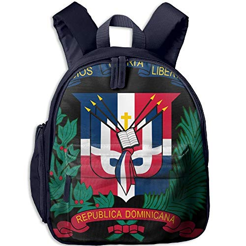 Coat of Arms Dominican Republic Flag Double Zipper Waterproof Children Schoolbag with Front Pockets for Kids Boys Girl