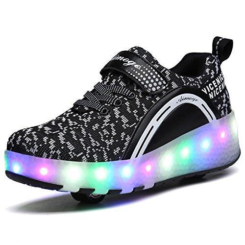HUSK'SWARE 2 Roller Schuhe Trainers Kinder LED-Licht-Schuhe Unisex Roller Skates Schuhe Mit Rollen Automatischen Skate Schuhe Damen Herren Sneaker Schwarz/zwei Rad