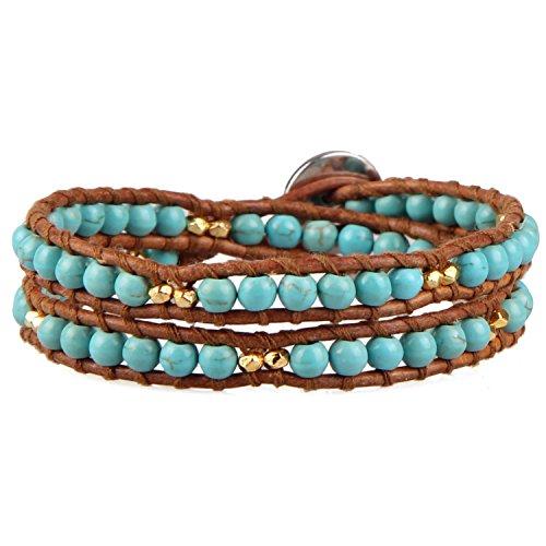 KELITCH Türkis Perlen Braun Leder Armband Damen Wickelarmband Armband Mit Türkis-perlen