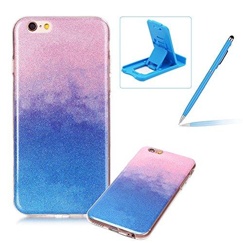 iPhone 6S Plus Hülle Weiches Silikon Glitzer Schutzhülle Tasche Case,iPhone 6 Plus Hochwertig Leicht Gummi Schutz Hoch Handyhüllen Schale Etui,Herzzer Modisch Luxus Silikon Bunt Hülle [Farbverlauf Gra Rosa und Blau