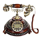 Retro telefon Nachahmung Holz Kirsche Muster Gravur Metall Knopf Typ Garten Mode Kreative Sitz Typ Europäischen Home Office 26 cm * 25 cm * 25 cm MUMUJIN