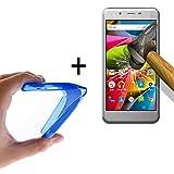 WoowCase - Flexible Gel Schutzhülle für [ Archos 50Cobalt] [ +1 Schutzglas ] Hartglas, Hülle Case TPU Silikon in Blau