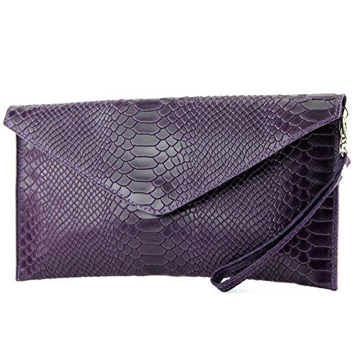 modamoda de - ital. Ledertasche Clutch Unterarmtasche Abendtasche Damentasche Handgelenktasche Leder Schlangenoptik T106S Dunkellila