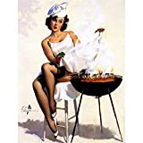 Wee Blue Coo LTD Painting Pinup Sexy Lady BBQ Barbecue