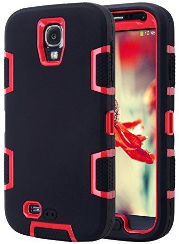 S4 Coque,Galaxy S4 Coque, ULAK Housse Étui Hybride Couche 3 en Silicone et PC Rigide Anti chocs & Absorption des Chocs dur Coque pour Samsung Galaxy S4 (Noir + Rouge)