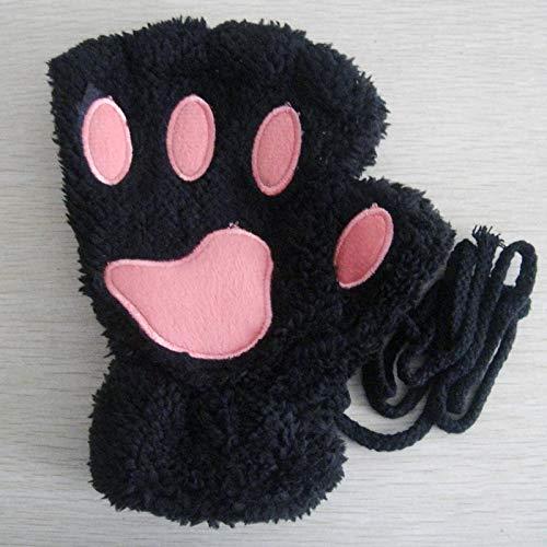ZHANGYUGEGE Cute Kawaii el otoño y el Invierno cálido Gruesos Guantes Medio Dedo Lindo señoras Estudiante Teclado Animal Moda Guantes,Uña de Gato Negro