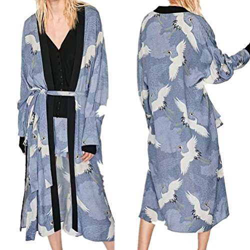 DOLDOA Damen Cardigan,Oversized Boho Cardigan Blumenmuster Laternen hülsen Kimono umhang Tops mit Riemen (EU: 50, Blau) (Laterne Boho)