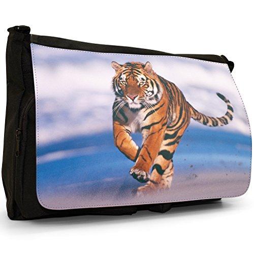 Selvatici Tiger–Borsa Tracolla Tela Nera Grande Scuola/Borsa Per Laptop Tiger Running On The Beach