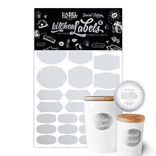 Kitchen Labels–Étiquettes Cuisine & cadeau autocollant pour beschriften a4 silber