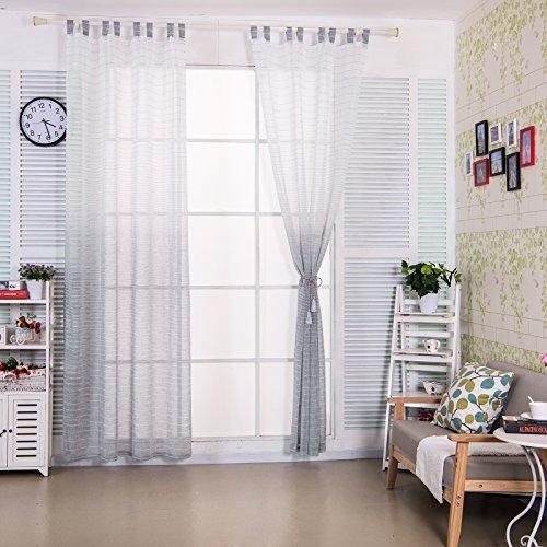 Preisvergleich Produktbild WOLTU® VH5855gr1 , Gardine transparent mit Schlaufen in gestreift Leinen Optik mit Farbverläufen Schlaufenschal Vorhang Stores Voile Fensterschal Dekoschal für Wohnzimmer Kinderzimmer Schlafzimmer Küche , 140x225 cm , Weiß + Grau