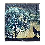 vinlin Duschvorhang, Motiv Heulender Wolf, wasserfest, 167,6 x 182,9 cm, Polyester, Multi, 66x72 inch