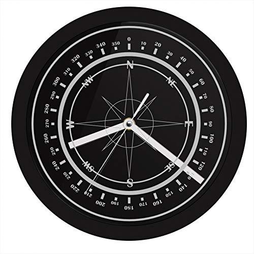 FGJMN Wanduhren Nautical Compass Wanduhr mit LED Hintergrundbeleuchtung Wind Rose Compass Rose Home Decor Marine leuchtende Wanduhr Marina Sailors Geschenke, schwarz Compass Rose Marine