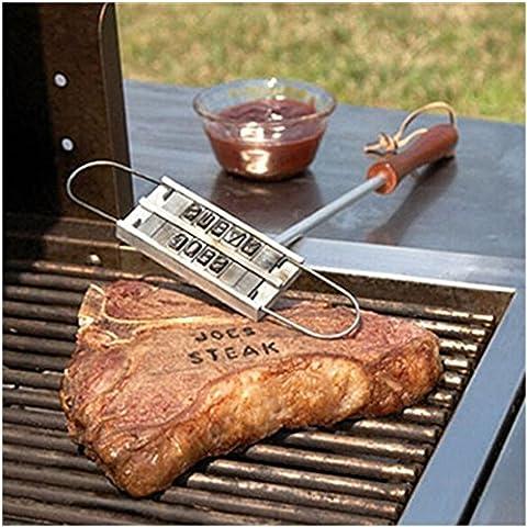 heartogether pic-nic campeggio barbecue Branding Iron utensili da cucina per Stamping personale bistecca carne - Carne Branding Iron