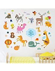 Solimo Wall Sticker for Kid's Room (Vacation in the Zoo, Ideal Size on Wall - 120 cm x 100 cm)