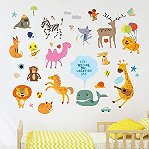 Amazon Brand – Solimo Wall Sticker for Kid's Room (Vacation in The Zoo, Ideal Size on Wall – 120 cm x 100 cm)
