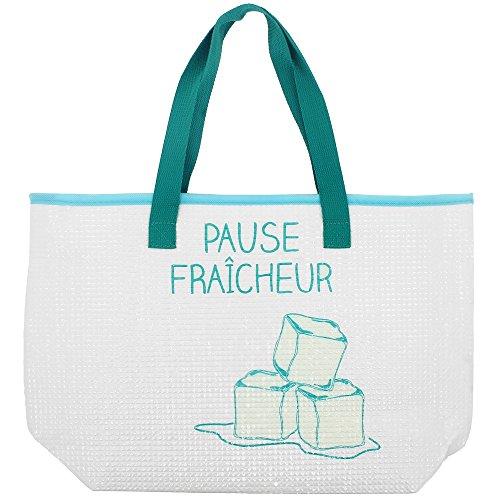 Promobo Sac Isotherme Glacière Zip Pause Fraicheur Glaçons 14L Bleu