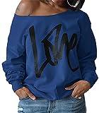 ZIOOER Damen Pulli Eine Seite Schulterfrei Love Langarm T-Shirt Rundhals Ausschnitt Lose Bluse Hemd Pullover Oversize Sweatshirt Oberteil Tops Blau M