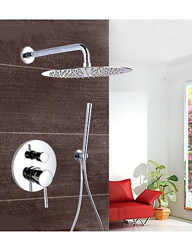 Chrome Support mural encastré Set de douche encastré robinets de douche pluie 25,4 cm ronde tête de douche robinet de baignoire mitigeur