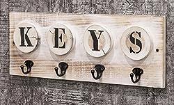 Schlüsselleiste mit 4 Haken aus Massivholz in Vintageoptik; Maße (B/T/H) in cm: 48 x 6 x 18