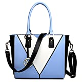Miss Lulu Leather Look V-Shape Shoulder Handbag (Blue)