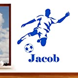 Personalised Footballer Boys Name Football Sport Wall Art Sticker - Childrens Art Vinyl Decal Transfer, Bedroom, Playroom, Lounge, Easy to Apply, Free Applicator, Easy Peel - Please Message Us With Your Required Name (Please Choose Your Size & Colour Using the Selection Boxes) - by Rubybloom Designs
