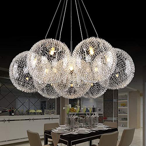 Moderne Aluminium-Glaskugel-Anhänger Leuchte DIY Deco Wohnzimmer G4 LED Lampe hängende Lampe, warmes Weiß, 15balls # 2218 -