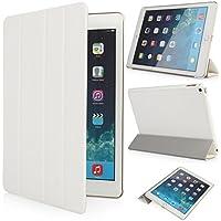 iHarbort® iPad Air 2 Hülle - Ultra Slim Premium Leder Tasche Hülle Etui Schutzhülle Ständer Smart Cover Case für iPad 6 Generation , mit Schlaf / Wach-up-Funktion (iPad Air 2, weiß)