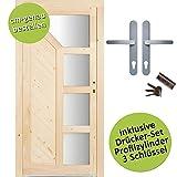 kuporta Fichte Mehrzwecktür nach Maß Wasenberg DIN links SIZE Kellertür Eingangstür Garagentür Holztür mit Drücker/Drücker-Set
