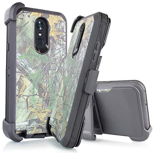 Schutzhülle für LG Stylo 4 / Stylus 4 / Q Stylo 4 Q710 / 2018 (Metro PCS, T-Mobile, Cricket usw.), vierschichtiger Schutz, strapazierfähig, Tarnmuster und eingebautem Display, Hunter Camo (Flip Handys Cricket)