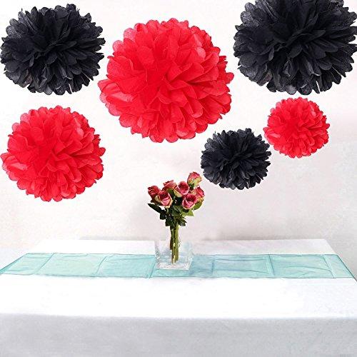 Led-Lichter Flauschig Rot &Große Pompoms Schwarz Party Deko für Hochzeit / Verlobung / Jubiläum / Geburtstag, Design