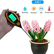 4 In 1 Soil Testers Digital Soil PH Meter Tester LCD Temperature Sunlight PH Soil Moisture Meter Tester for Ga