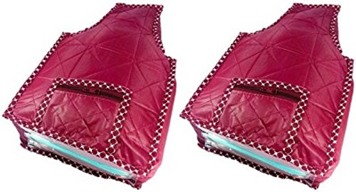 Kuber Industries™ Rexine Quilted Blouse Cover Set of 2 Pcs(Maroon)