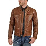 HIGH TOUCH Men's Jacket Genuine Leather Brown Stylish(Size : XS to 2XL)