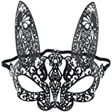 STOBOK Rhinestone Mask Venetian Mask Rabbit Mask Half Face Animal Mask Cosplay Costume Accessory For Halloween Carnival Masquerade (Black)