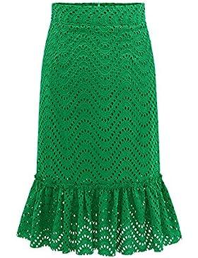 Midi Falda Elegante de Cintura Alta Encaje Faldas para Mujeres