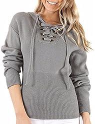 Wrap Solide Tunique Lacets Des Femmes Tops Blouses Pullover Tricot Chandail
