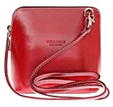 Girly HandBags V155_red Genuine Leather Rigid Cross Body Shoulder Bag, Red