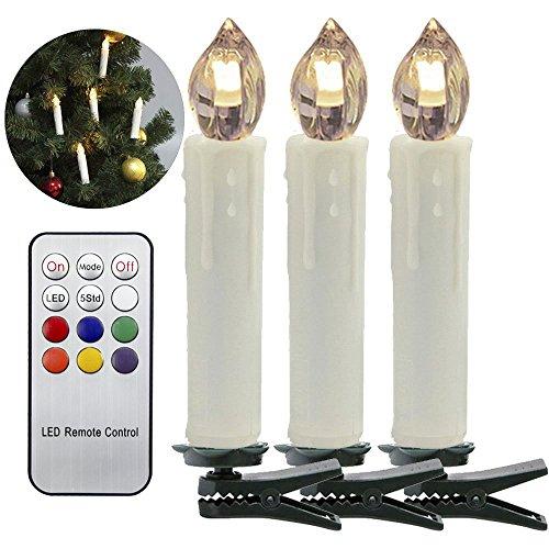 HJ 30er Weinachten LED Kerzen Lichterkette Weihnachtskerzen mit Fernbedienung Kabellos LED-Mini-Christbaumkerzen, Dimmbar