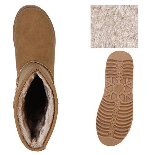 Warm Gefütterte Damen Stiefeletten Glitzer Stiefel Schlupfstiefel Boots Khaki Khaki