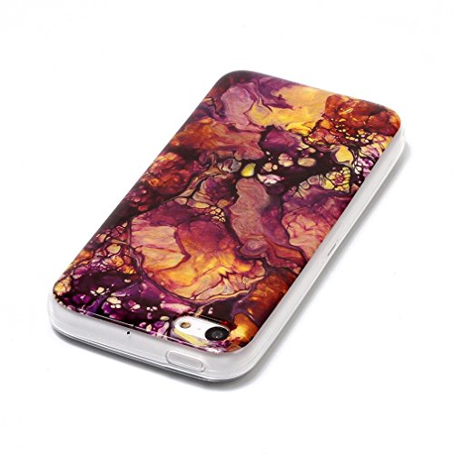 Xiaoximi iPhone 5C Hülle Marmor Textur Hülle TPU Silikon Gel Schutzhülle Weiche Flexible Schutzhülle Soft Slim Case Cover Ultra Dünne Schlanke Leichte Etui Mode Anti-Kratz Handyhülle-Rosa Grün Lila Gelb