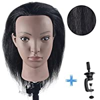 "Training Head 100% Real Hair Cosmetology Mannequin Head 16"" Manikin Doll Head (Clamp Table Holder Includ)"