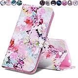 Huihai Huawei Y5 II/Y5 2 Hülle, Flip Case Cover Exquisite Malerei [Pfingstrose] PU Leder Tasche Brieftasche Handyhülle, mit Standfunktion Schutzhülle für Huawei Y5 II/Y5 2 CUN-L21 (5.0 Zoll)