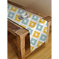 STITCHNEST™ Ikat Yellow Teal Digital Printed 4 Seater Table Runner, 13 x 60 Inches