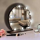 Set de luces LED para Espejo de Vanidad Estilo Hollywood con 10 Bombillos LED Regulables, Tira Flexible para Espejo para Maquillaje de Habitación, Vestidor, Baño, Blanco