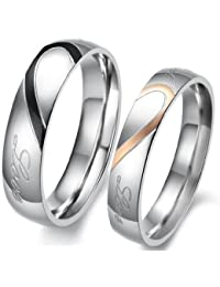 "bigsoho Lover's Heart Shape Titanium Stainless Steel Men/Women ""Real love"" Wedding Band Anniversary/Promise/Lover/Couple Ring Size H 1/2,J 1/2,L 1/2,N 1/2,P 1/2,R 1/2,T 1/2,W,Y,Z1,Z3,Z4"