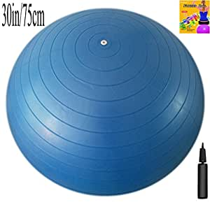 Fitness Ball: Blue, 30in/75cm Diameter, Includes 1 Ball +1 Pump + 1 Page Instruction Chart. No instructional DVD. (Exercise Gym Swiss Stability Ball)