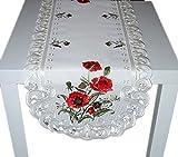 Espamira Tischdecke Tischläufer Creme Stickerei MOHN Tischdekoration Mitteldecke Sommer Herbst (Tischläufer 45x130 cm)