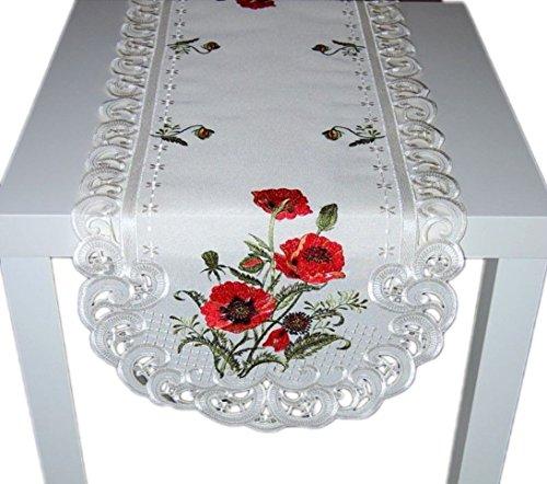 Tischläufer Creme Stickerei MOHN Tischdekoration Mitteldecke Sommer Herbst (Tischläufer 45x130 cm) ()