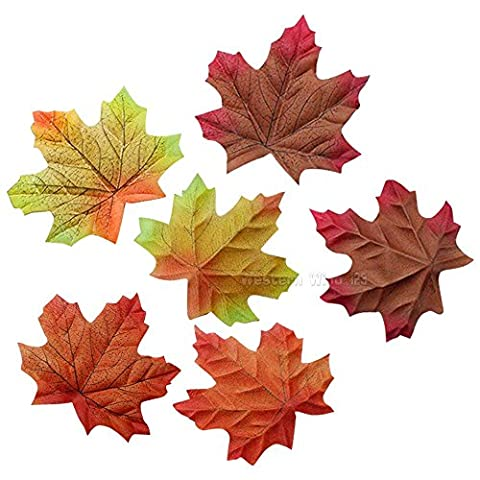 Wocharm 150pcs/200pcs Mixed Artificial Autumn Maple Leaves Autumn Colors Great Autumn Table Scatters For Fall Weddings Festivals Party (10cm X 9cm 150pcs)